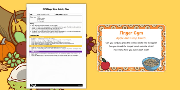 EYFS Apple and Hoop Cereal Finger Gym Plan and Prompt Card Pack
