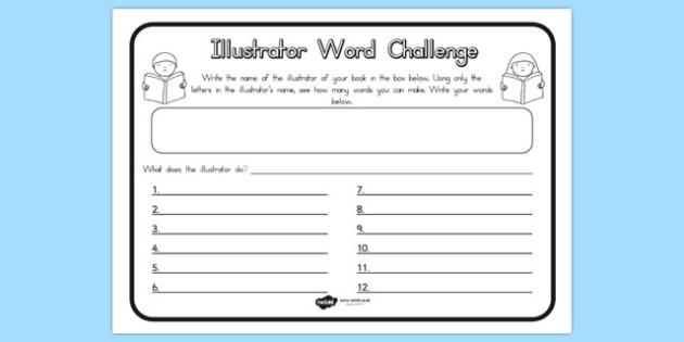 Illustrator Word Challenge Worksheet - australia, challenge