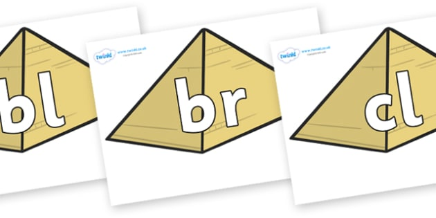 Initial Letter Blends on Pyramids - Initial Letters, initial letter, letter blend, letter blends, consonant, consonants, digraph, trigraph, literacy, alphabet, letters, foundation stage literacy
