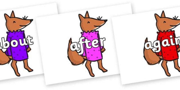 KS1 Keywords on Small Fox 3 to Support Teaching on Fantastic Mr Fox - KS1, CLL, Communication language and literacy, Display, Key words, high frequency words, foundation stage literacy, DfES Letters and Sounds, Letters and Sounds, spelling