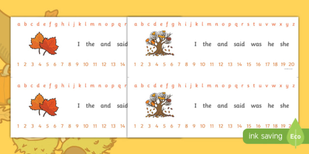 Number and Alphabet Strips (Autumn) - Alphabet, Numbers, Learning letters, Writing aid, Writing Area, Counting, Numberline, Number line, Counting on, Counting back, Autumn, seasons, autumn pictures, autumn display, leaves, acorn, conker