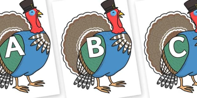 A-Z Alphabet on Turkey Lurky - A-Z, A4, display, Alphabet frieze, Display letters, Letter posters, A-Z letters, Alphabet flashcards