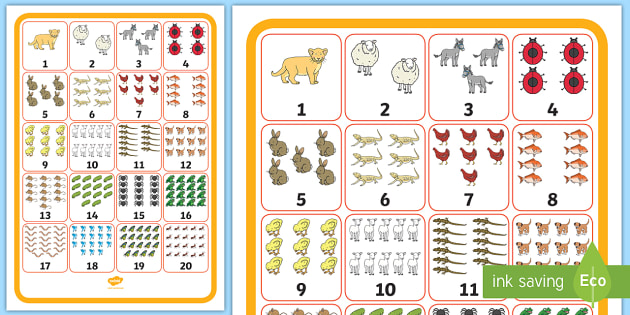 Numbers 1-20 with Animals Display Poster - Numbers 0 20 With Animals Display Posters - 1-20, animals, counting, numbers, numeracy, number recog