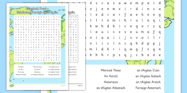 Irish Gaeilge Ilchríocha Farraigí agus Aigéin Word Search - irish, gaeilge, word search, pack, Tíreolaíocht