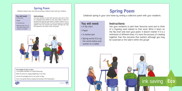 Spring Collective Poem Adult Guidance - Spring, Easter, Care Homes, Elderly Care, Ideas, Support, Activity Co-ordinators, Season, Poetry