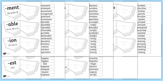Suffix Pockets - suffix, pockets, craft, words, endings, make