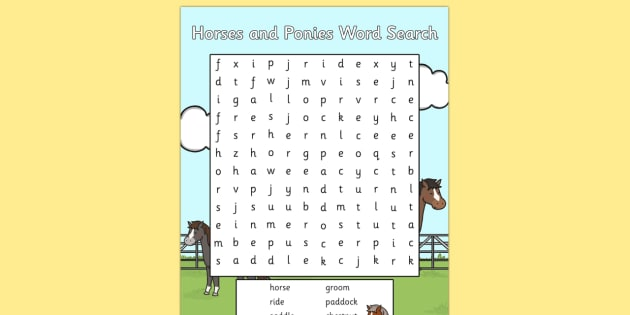 Horses and Ponies Wordsearch - horses, ponies, wordsearch, word,