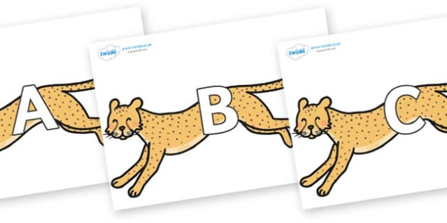 A-Z Alphabet on Cheetahs - A-Z, A4, display, Alphabet frieze, Display letters, Letter posters, A-Z letters, Alphabet flashcards
