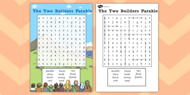 The Two Builders Wordsearch - parables, two builders, wordsearch