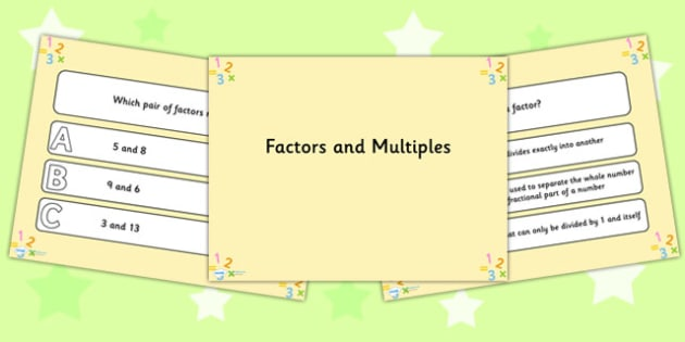 Factors and Multiples PowerPoint Quiz - factors, multiples, quiz