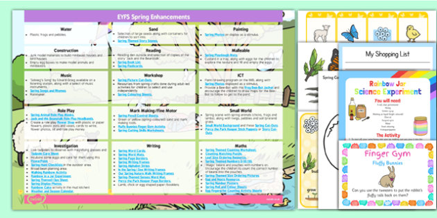 EYFS Spring Themed Enhancement Ideas and Resources Pack - planning, pack, spring