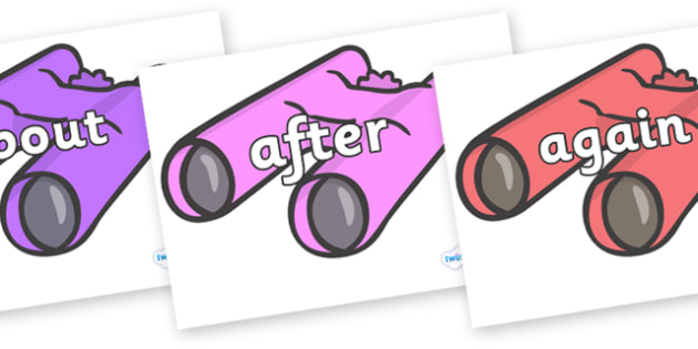 KS1 Keywords on Binoculars - KS1, CLL, Communication language and literacy, Display, Key words, high frequency words, foundation stage literacy, DfES Letters and Sounds, Letters and Sounds, spelling