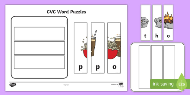 Workstation Pack:  CVC (o) Words Puzzles Activity Pack