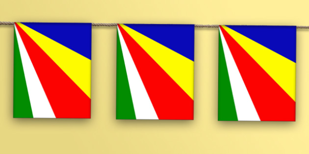 Seychelles Flag Display Bunting - countries, geography, display