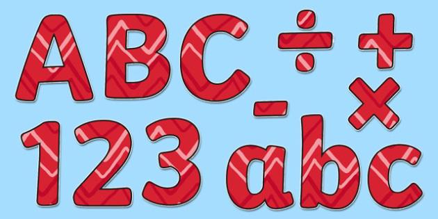 Red Zig Zag Display Lettering - red, zig zag, display lettering, display, letter