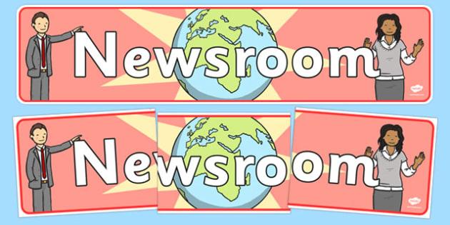 Newsroom Display Banner - news, newsroom, display, banner, sign, poster, news presenter, reporter, camera, headlines, story, press, camera operator, bulletin