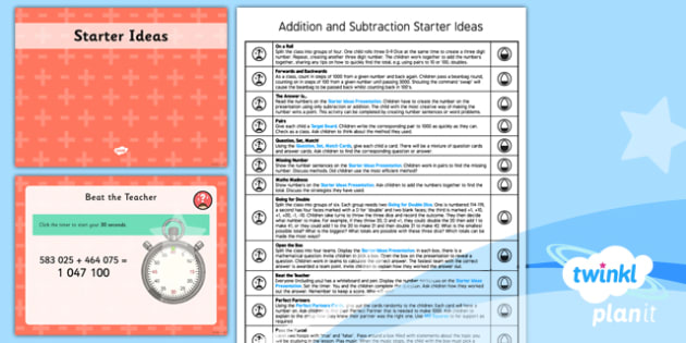 PlanIt Y5 Addition and Subtraction Starter Ideas Pack - addition, subtraction, dice, target board, pairs, statement, missing number