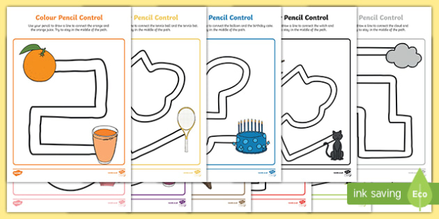 Colour Themed Pencil Control Path Activity Sheets, worksheet