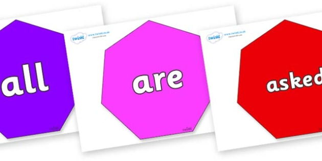 Tricky Words on Heptagons - Tricky words, DfES Letters and Sounds, Letters and sounds, display, words