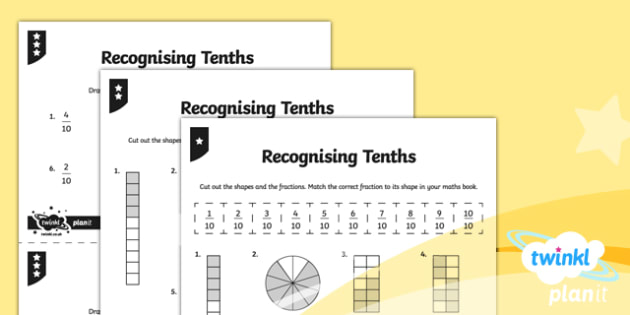 PlanIt Y3 Fractions Recognise and Count in Tenths Home Learning - Fractions, homework, tenths, count in fractions, count in tenths, tenths number line, fraction number line