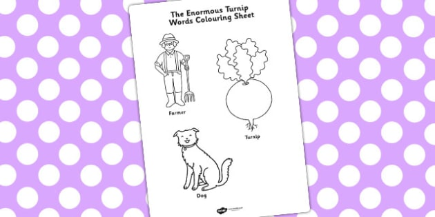 The Enormous Turnip Words Colouring Sheet - colouring, sheets
