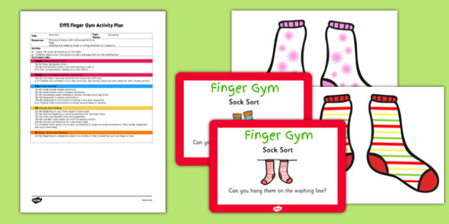 EYFS Sock Sort Finger Gym Plan And Prompt Card Pack - eyfs, sock, sort, finger gym, plan, prompt, card