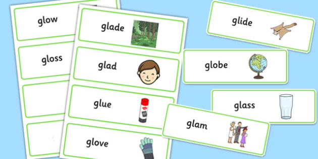 GL Sound Word Cards - sen, sound, gl sound, gl,  word cards, word, cards