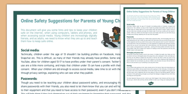 Online Safety Suggestions for Parents of Young Children - e-safety, parents, young, children