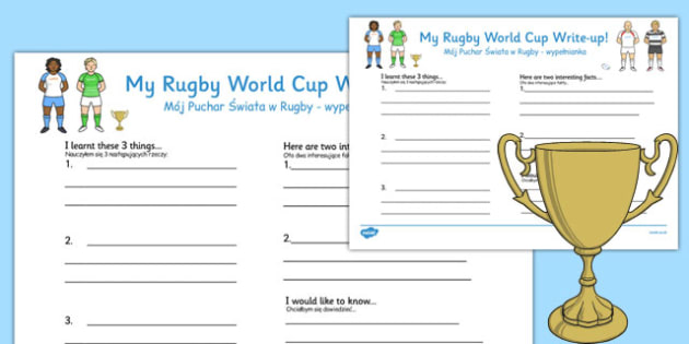 Rugby World Cup Write Up Worksheets Polish Translation - polish