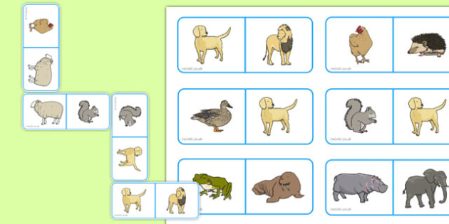 Animal Dominoes - animal, dominoes, game, activity, class, domino