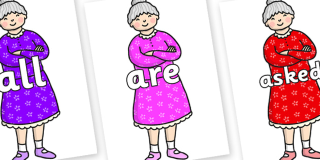 Tricky Words on Enormous Turnip Old Woman - Tricky words, DfES Letters and Sounds, Letters and sounds, display, words