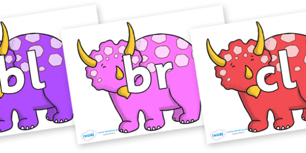 Initial Letter Blends on Triceratops - Initial Letters, initial letter, letter blend, letter blends, consonant, consonants, digraph, trigraph, literacy, alphabet, letters, foundation stage literacy
