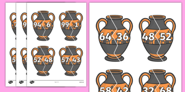 Number Bonds to 100 on Ancient Vases - number bonds, history number bonds, number bonds on greek vases, number bonds to 100, ks2 number bonds, ks2 history