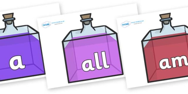 Foundation Stage 2 Keywords on Perfume Bottles - FS2, CLL, keywords, Communication language and literacy,  Display, Key words, high frequency words, foundation stage literacy, DfES Letters and Sounds, Letters and Sounds, spelling