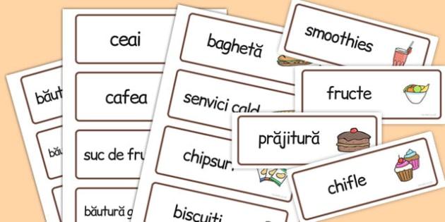 La cafenea - Cartonașe cu imagini și cuvinte
