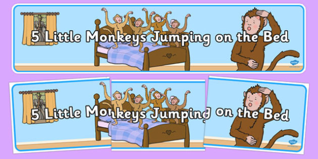 Five Little Monkeys Jumping on the Bed Display Banner - display, jungle, monkey, animals, rhyme, song, nursery rhymes
