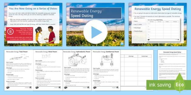 Renewable energy Speed Dating - Speed Dating, renewable energy, solar power, wind turbines, biomass, tidal power, starter activity