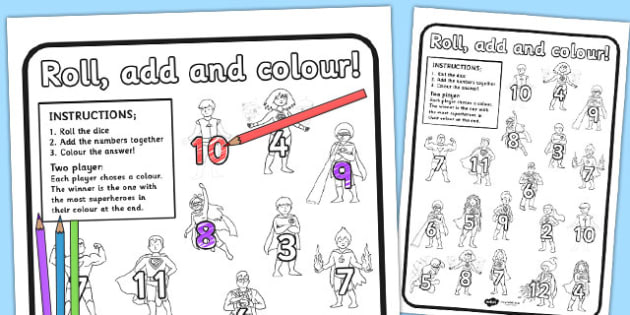 Superhero Themed Roll and Colour Worksheet - superheroes, colour