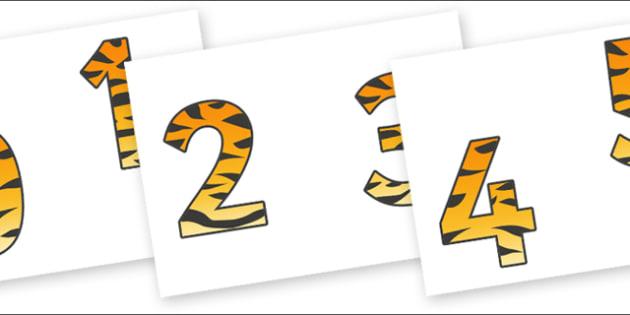 0-9 Display Numbers (Tiger Print) - Display numbers, 0-9, numbers, display numerals, display lettering, display numbers, display, cut out lettering, lettering for display, display numbers