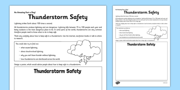 Thunderstorm Safety Activity Sheet - thunderstorm, safety, poster, home education, fact of the day, worksheet
