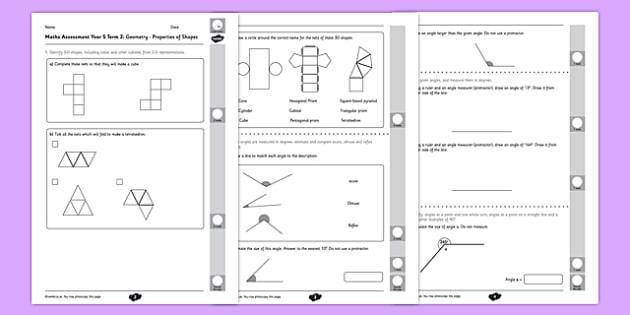 Year 5 Maths Assessment: Geometry - Properties of Shapes Term 2 - Maths, Assessment, Geometry, Shape