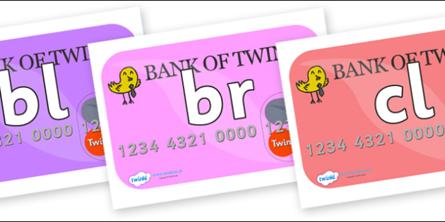 Initial Letter Blends on Debit Cards - Initial Letters, initial letter, letter blend, letter blends, consonant, consonants, digraph, trigraph, literacy, alphabet, letters, foundation stage literacy