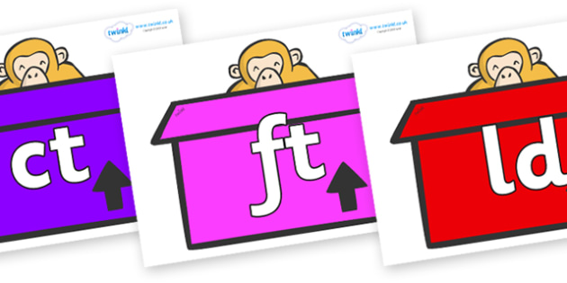 Final Letter Blends on Monkeys (Box) to Support Teaching on Dear Zoo - Final Letters, final letter, letter blend, letter blends, consonant, consonants, digraph, trigraph, literacy, alphabet, letters, foundation stage literacy