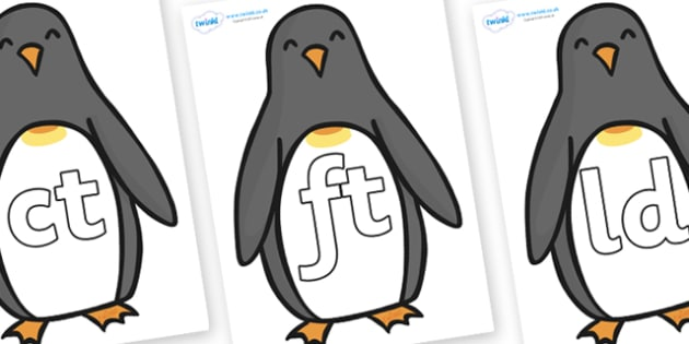 Final Letter Blends on Penguins - Final Letters, final letter, letter blend, letter blends, consonant, consonants, digraph, trigraph, literacy, alphabet, letters, foundation stage literacy