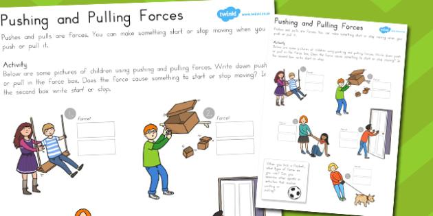 Pushing and Pulling Forces Worksheet - australia, pushing, pulling