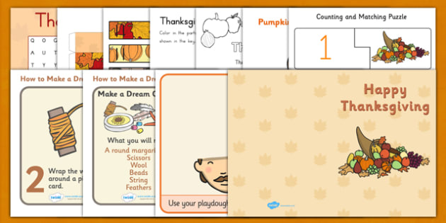 Thanksgiving Activity Pack - thanksgiving, activity, pack, sack
