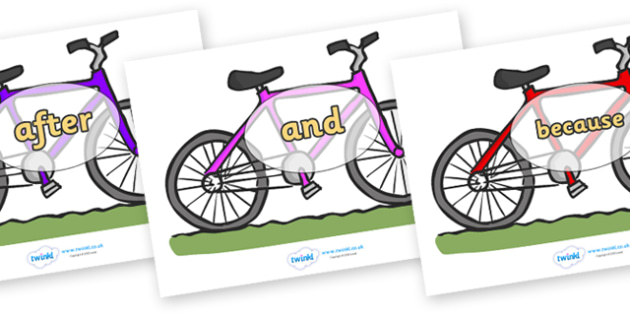 Connectives on Bicycles - Connectives, VCOP, connective resources, connectives display words, connective displays