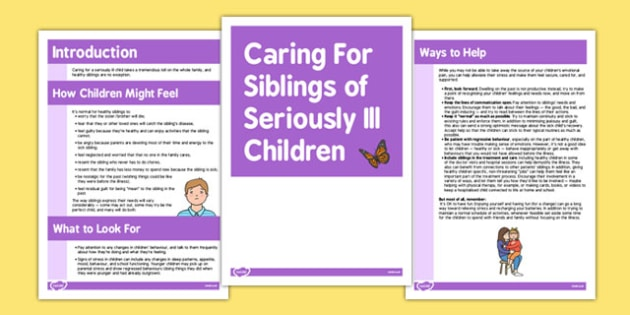 Caring for Siblings of Seriously Ill Children - siblings, ill, children