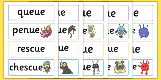 Phase 5 'ue' Flashcards Real and Nonsense Words - phase 5