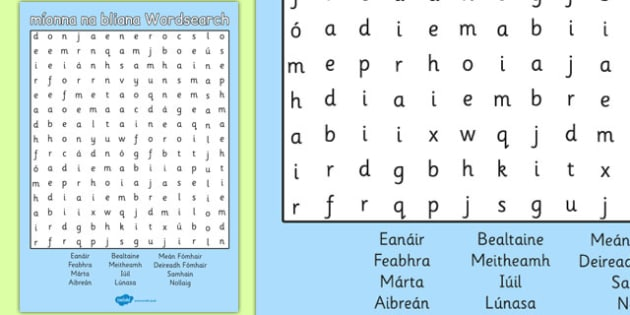 Míonna na bliana Wordsearch Gaeilge - gaeilge, months, year, wordsearch